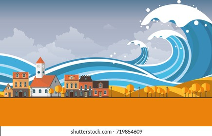 Tsunami, Flood Disaster, Vector Illustration. Overflooded Landscape. Eps 10