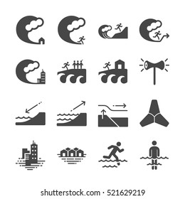 Tsunami and Flood icons. Included the icons as wave, evacuate, emergency, alarm, sea, escape and more.