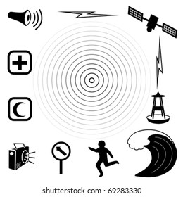 Tsunami Icons. Earthquake epicenter, tidal wave, warning siren, radio, emergency aid services,  tsunami detection buoy, satellite transmission, fleeing person, evacuation sign. EPS8 compatible.