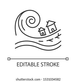 Tsunami linear icon. Groundswell. Ocean storm washing settlement. Sea wave destruct houses. Hurricane damage. Thin line illustration. Contour symbol. Vector isolated outline drawing. Editable stroke