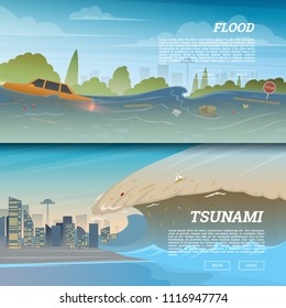 Tsunami on tropical beach. Big waves and ocean surface. Landscape Flood and Disaster. City on seashore. Summer vacation and catastrophe. Natural cataclysm crisis. High water and big waves Background.