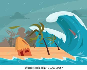 Tsunami waves hits the beach