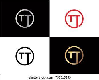 TT Circle Letter Logo Design with RED GOLD BLACK Silver Vector Illustration