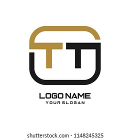 TT initial box letter logo template vector