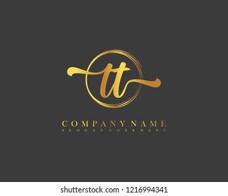 TT initial handwriting logo circle template vector