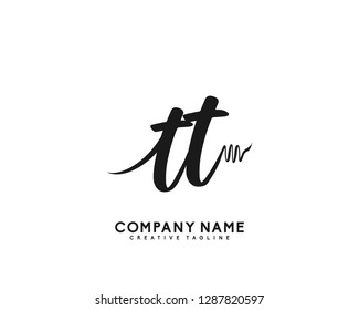 TT Initial Handwriting Logo Template Vector