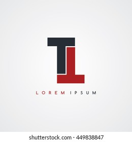 tt initial letter linked uppercase logo black red in white background