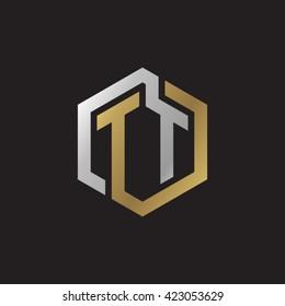 TT initial letters looping linked hexagon elegant logo golden silver black background