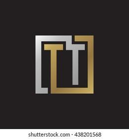 TT initial letters looping linked square elegant logo golden silver black background