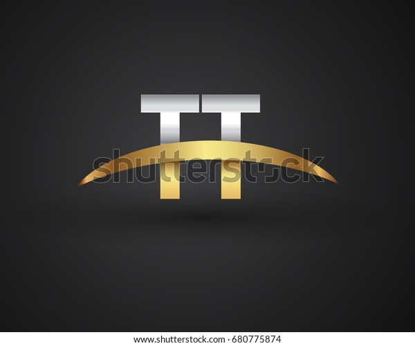 TT initial logo company name colored gold and silver swoosh design. vector logo for business and company identity.