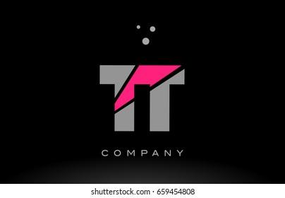 tt t alphabet letter logo pink grey black creative company vector icon design template