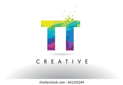TT T Colorful Letter Design with Creative Origami Triangles Rainbow Vector.