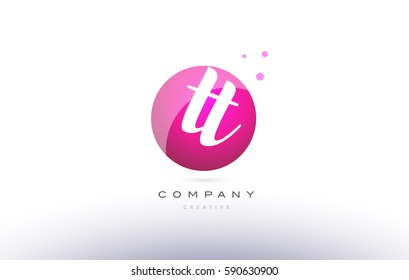 tt t  sphere pink 3d alphabet company letter combination logo hand writting written design vector icon template