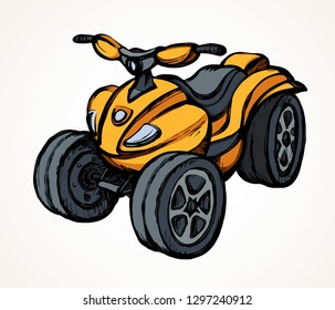 Tthree-wheeler orange quadbike engine machine on light desert backdrop. Bright yellow color hand drawn fun offroad four-track tyre jump scooter logo design in modern art style on paper space for text