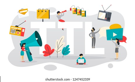 TTL or through the line communication with customer. TV and newspaper advertising. Announcement on billboard. Isolated flat vector illustration