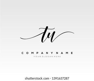 TU handwriting initial  logo vector