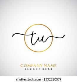 TU Initial Handwriting logo template vector
