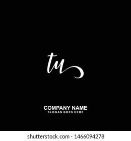 TU Initial handwriting logo vector