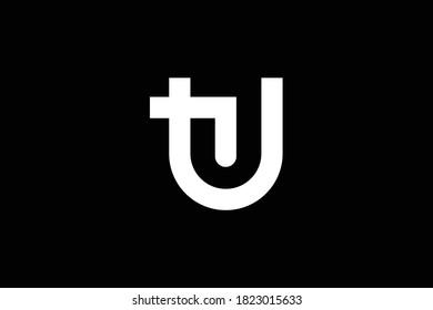 TU letter logo design on luxury background. UT monogram initials letter logo concept. TU icon design. UT elegant and Professional white color letter icon design on black background. T U UT TU