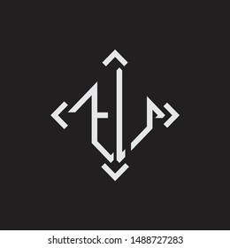 TU Logo Abstrac letter Monogram with Arrow in every side isolated on black background