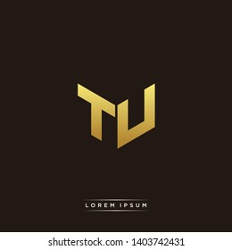 TU Logo Letter Initial Logo Designs Templete with Gold and Black Background