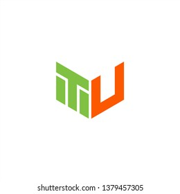 TU Logo Letter Initial With Green and Orange Colors