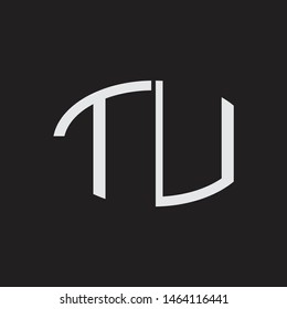 TU Logo letter oval monogram design template with black and white colors