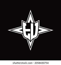 TU Logo monogram with four direction arrows design template on black background