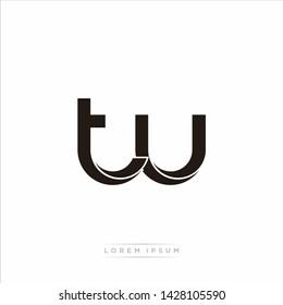 tu t u Initial Letter Split Lowercase Modern Monogram linked outline rounded logo