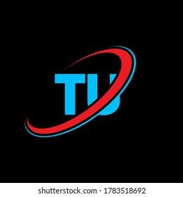 TU T U letter logo design. Initial letter TU linked circle uppercase monogram logo red and blue. TU logo, T U design. tu, t u