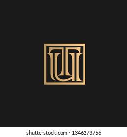 TU or UT logo vector. Initial letter logo, golden text on black background