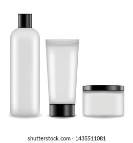 Tube for cream, bottle for shampoo, lotion, container for face cream vector illustration. Realistic container set for mock up cosmetics design