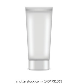 Tube for cream, lotion vector illustration. Realistic container for mock up cosmetics design