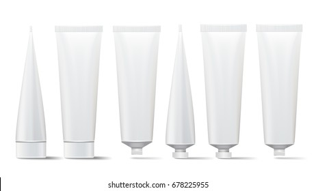 Tube Cream Set Vector. Mock Up. Cosmetic, Cream, Tooth Paste, Glue White Plastic Tubes Open And Closed Set Packaging Realistic Illustration. Isolated