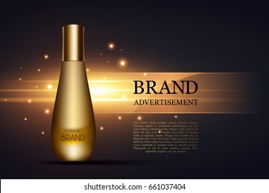 Tube of cream for the skin. Cosmetic ads template, Realistic Cosmetic bottle. Container for cream, foams and other cosmetics with lights and glitter elements on the background, 3d illustration
