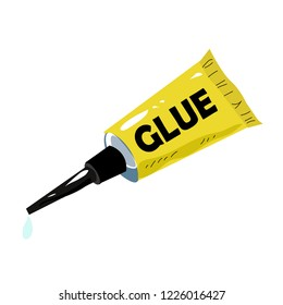 The tube of glue in the white background.