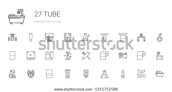 Tube Icons Set Collection Tube Lipstick Stock Vector