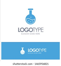 Tube, Labe, Science, Test, Education Blue Solid Logo with place for tagline. Vector Icon Template background