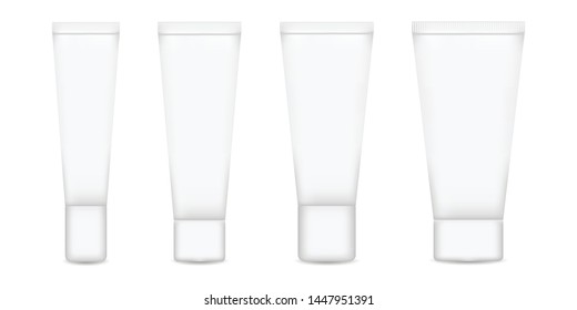 Tube set for cream, lotion vector illustration. Realistic container for mock up cosmetics design