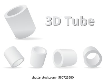 Tube shape various angle color white and gray 3D style.