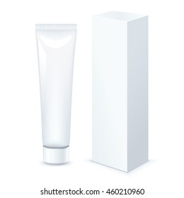 Tube of Toothpaste, Cream Or Gel with packing box Grayscale White Clean. Vector