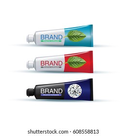 Tube of toothpaste in different colors. Vector illustration of realistic tubes on white background.