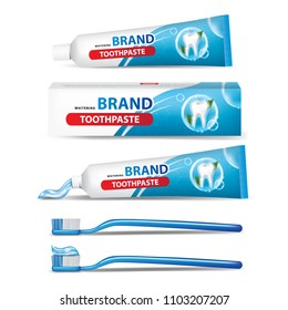 Tube of toothpaste and toothbrush vector illustration