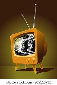 Tube TV, ocher, black screen, silver antenna