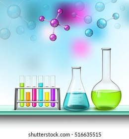 Tubes for tests vessels air molecules laboratory eqipment composition with colorful liquids flat vector illustration