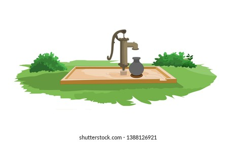 Tube-well, Water pump agriculture equipment for water distribution isolated on natural background - vector