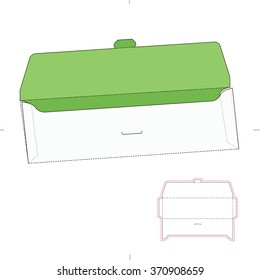 Tuck Lock Envelope with Die Cut Template