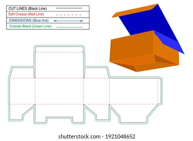 Tuck Top auto bottom lock or Snap Bottom Lock box dieline template and 3D render box