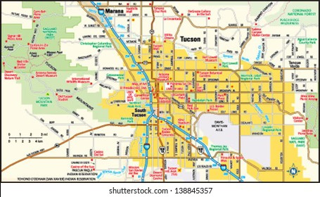 Tucson, Arizona area map