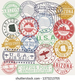 Tucson Arizona Set of Stamps. Travel Stamp. Made In Product. Design Seals Old Style Insignia.